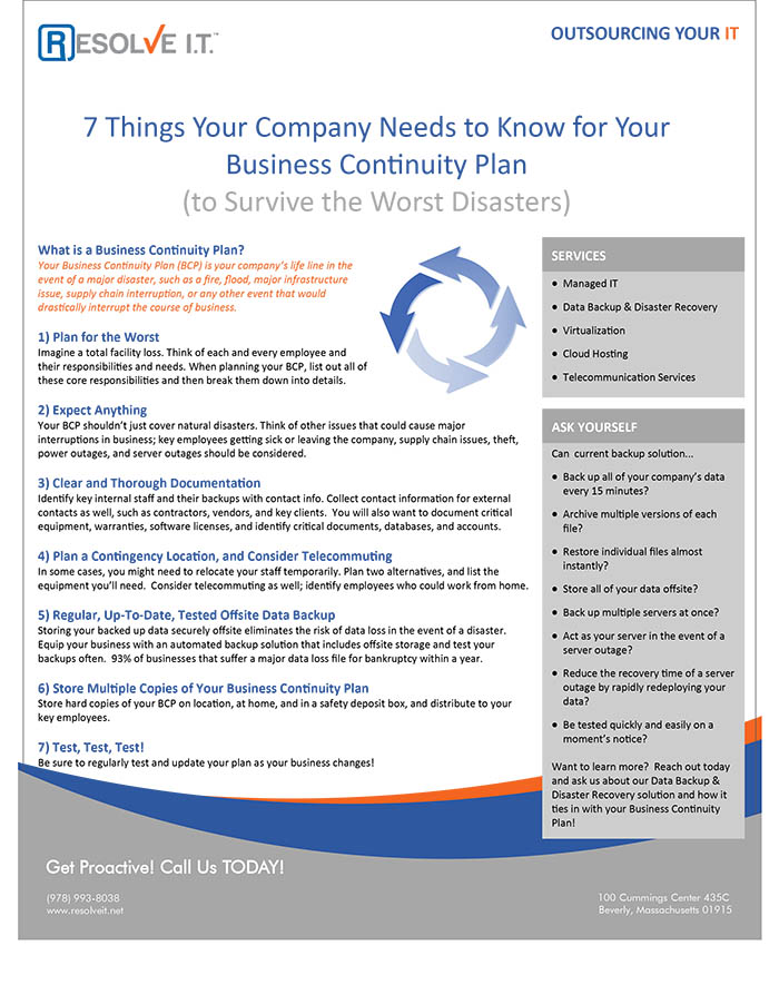 Download Business Continuity Plan Cheat Sheet